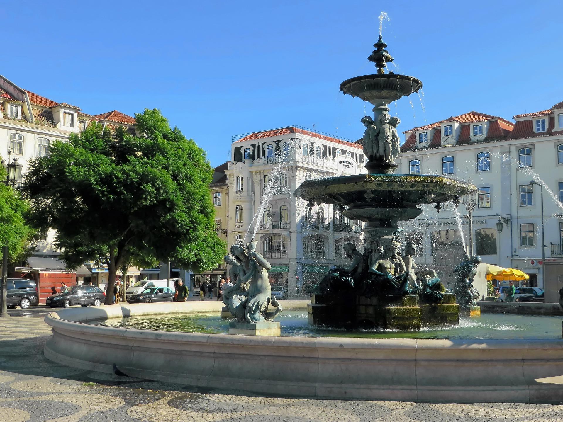Place Rossio à Lisbonne